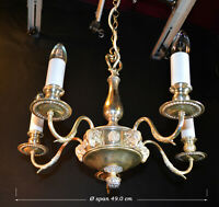 Stunning Vintage 1930s silver plated 5 arm patented chandelier ram's head motifs