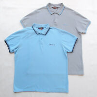 BEN SHERMAN 2 x Mens Short Sleeve Polo Shirt Bundle Blue Grey Logo Size L