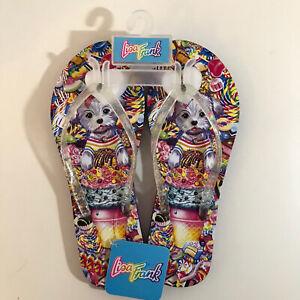 Lisa Feank Cute Puppy Sandals Flip Flops Adult Size 9/10 Glitter Rainbow Kawaii