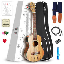 """23""""  Concert Spalted Maple Electric Acoustic Ukulele Hawaiian Guitar from US"""