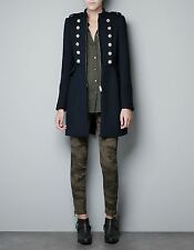 Zara Women's Blue Military Coat with Gold Buttons - Size M