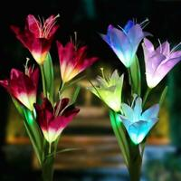 2 Pack Color-Changing LED Solar Powered 8 Flowers Stake Lights Yard Garden Decor