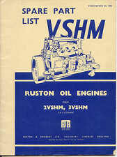 Ruston VSHM oil Engine Marks 2VSHM, 3VSHM 2 & 3 Cylinders parts list original