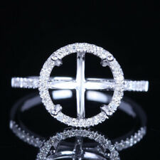 Round 9.5mm 14K White Gold Jewelry Real Diamond Semi Mount Engagement Fine Ring