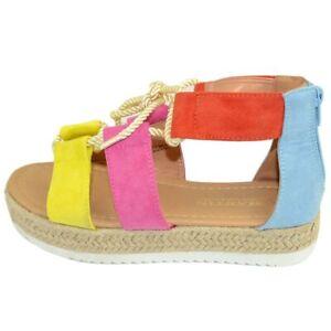 Sandalo basso donna espadrillas comode con para alta e fasce colorate fucsia con