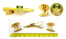 NIGERIA NOC Gold Neck Tie -Bar Pin Clasp  and Clip Cufflinks Set Unused Rare