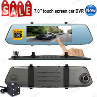7'' Car DVR Dual Lens HD 1080P Vehicle Dash Cam Rearview Mirror Camera Recorder