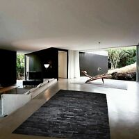 NEW Cowhide Rug Patchwork Cowskin Cow Hide Leather Carpet. Black.