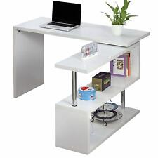 Executive Office Desk White High Gloss Computer PC Table Home Corner Study Unit