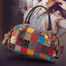 Women Genuine Leather Multi-color Backpack Splice Travel Messenger Shoulder Bag