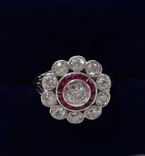 Antique Art Deco Ruby & Diamond 1ct Cluster Ring In 18ct White Gold - Size N