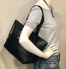FOSSIL SYDNEY Black Leather Shopper Tote Shoulder Bag Handbag Carryall Purse