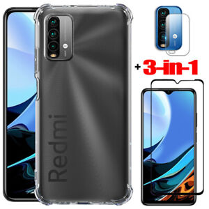 For Xiaomi Redmi 9T Shockproof Case Cover + Lens Film + Glass Screen Protector