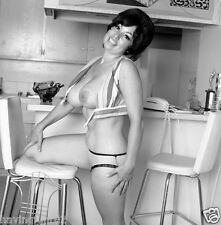 1960s Pinup Big D Breasts posing on kitchen stool 8 x 8 Photographs