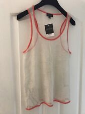 BNWT Topshop White Metallic Caged Vest Top Sz 10