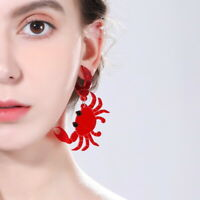 Women Red crab Earring Acrylic Resin Drop Dangle Stud Earrings Jewelry Gift  UK#
