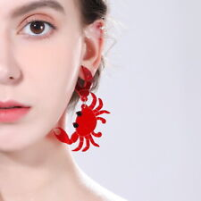 Women Red crab Earring Acrylic Resin Drop Dangle Stud Earrings Jewelry Gift