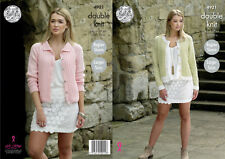 King Cole Ladies Double Knitting Pattern Round Neck or Collared Cardigan 4921