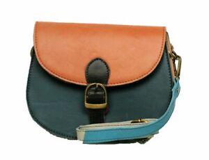 Gringo Fair Trade Women's Handbag Small Dark Teal Leather Cross Body