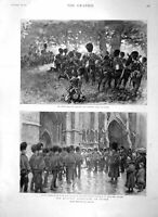 Old Antique Print 1897 Northumberland Fusiliers Irish Church Arundel War 19th