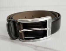 HUGO BOSS Handmade in Italy Brown Cowskin Leather Dress Belt 50181449 UGOS Sz 32