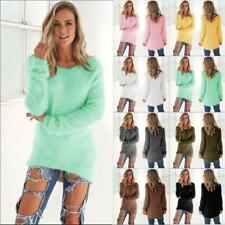 Women Long Sleeve Cardigan Fuzzy Knitted New Sweater Pullover Sweatshirt Coat B