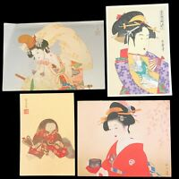 VNTG Japanese Geisha art and post cards, Lot of 4 cards