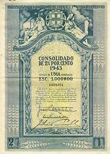PORTUGAL PUBLIC LOAN OF 1943 stock certificate VERSION 1