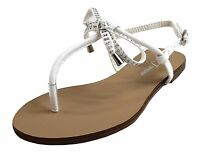 New women's shoes open toe sandal t strap casual party bow rhinestones white
