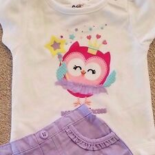 DARLING! NWOT BABY GARANIMALS 0-3 MONTH 2PC DADDY'S PRINCESS PURPLE OWL OUTFIT