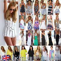 UK Summer Womens Celeb Sexy Mini Playsuit Ladies Jumpsuit Shorts Beach Sun Dress