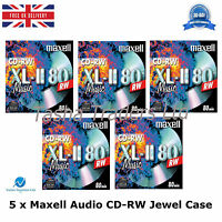 5 x Maxell Audio CD-RW Jewel Case ReWritable Recordable Blank Music 80 Min Disc