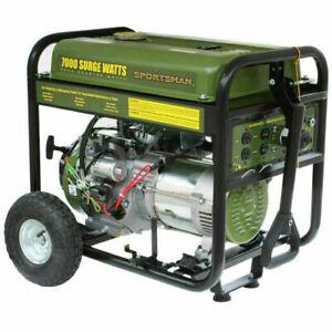 Sportsman 7000-Watt Portable Gas Powered Electric Start Generator with Wheel Kit