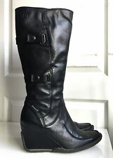 Bronx shoes women's April black leather wedge boots size 39