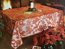 """Tablecloth Season's Greetings Christmas Nottingham Lace RED  54""""70"""" > NEW<"""