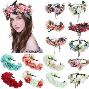 Wedding Bride Large Flower Crown Hairband Headband Beach Garland Accessories