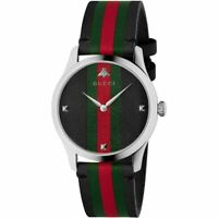 GUCCI G-Timeless 38mm Quartz Black Leather Band Men's Watch YA1264079