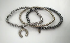 °° Armband - silber, grau - 3 Stück - Perlenarmbänder - Hufeisen, LBVYR °°