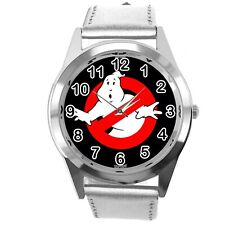 GHOSTBUSTERS FILM SCIFI MOVIE CD DVD SILVER REAL LEATHER STAINLESS STEEL WATCH