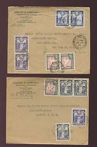 BRITISH GUIANA WW2 1941 + 1944 MULTI FRANKINGS FOSTER + CO ENVELOPES 92c + 46c