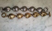 Pair Vintage Shell Shaped Bracelets 1 Goldtone 1 Silvertone