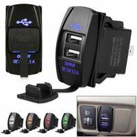12/24V 3.1A Car Motorcyc Dual USB Power Charger Port Socket Plug LED Display Bs