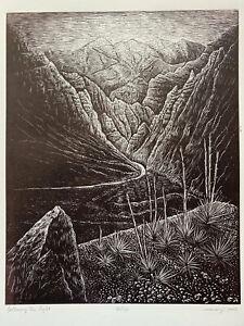 Wood engraving Original Follow Light Wood Engraving Southwest Desert  Landscape
