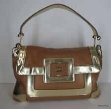 $795 ANYA HINDMARCH Metallic Patent Leather Luxury Tan Gold Handbag Purse