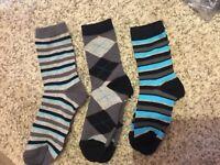 2 packs of 3 pairs patterned ankle socks 31-36 12-3h  boys girl school uniform