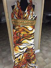 A Beautiful Orange-yellow Beaded Formal Prom Dress Size 14-16