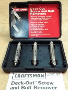 CRAFTSMAN DECK-OUT 3 PC SCREW AND BOLT REMOVER '' MADE IN THE U.S.A.''