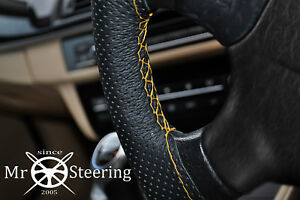 FOR FORD MUSTANG 1 64+ PERFORATED LEATHER STEERING WHEEL COVER YELLOW DOUBLE STT