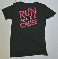 Woman's UNDER ARMOUR Black Shirt Top Run For a Cure Short Sleeve Size Medium M
