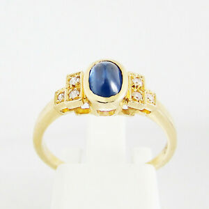 Ring Gold 750er Saphir Diamanten 18 kt Edelsteine Goldschmuck Damen